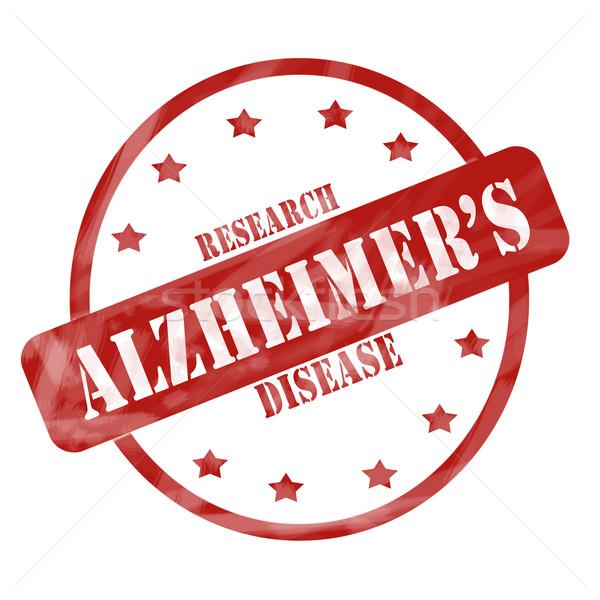 Piros viharvert Alzheimer-kór kutatás bélyeg kör Stock fotó © mybaitshop