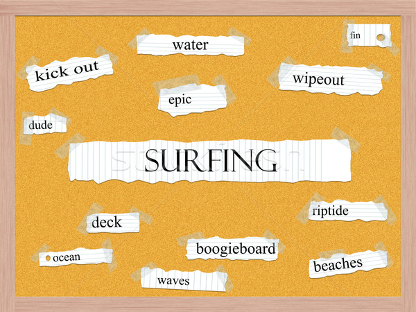 Surfing Corkboard Word Concept Stock photo © mybaitshop