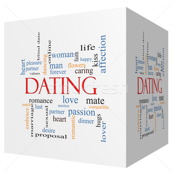 Dating 3D cube Word Cloud Concept Stock photo © mybaitshop