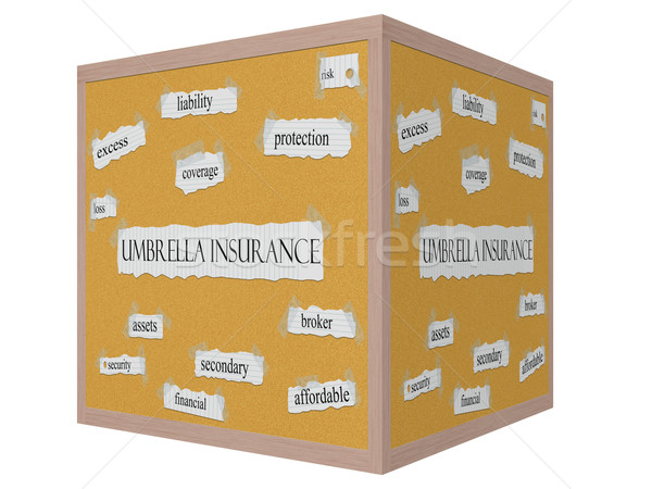 Umbrella Insurance 3D cube Corkboard Word Concept Stock photo © mybaitshop