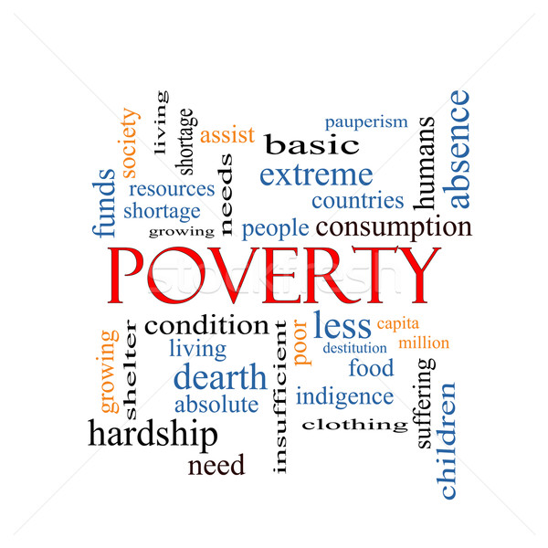 Yoksulluk kelime bulutu muhteşem yoksul insanlar Stok fotoğraf © mybaitshop