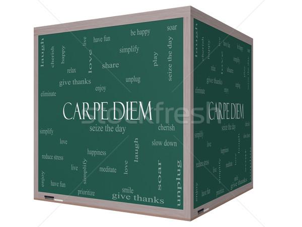 Carpe Diem Word Cloud Concept on a 3D cube Blackboard Stock photo © mybaitshop