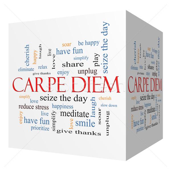 Carpe Diem 3D cube Word Cloud Concept Stock photo © mybaitshop