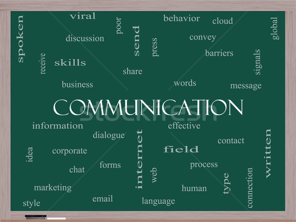 Communication Word Cloud Concept on a Blackboard Stock photo © mybaitshop