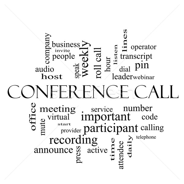 Conference Call Word Cloud Concept in black and white Stock photo © mybaitshop