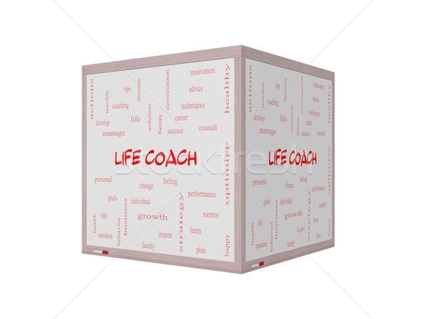Life Coach Word Cloud Concept on a 3D Whiteboard Stock photo © mybaitshop
