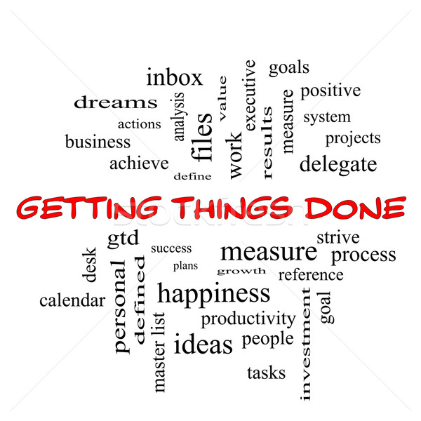 Getting Things Done Word Cloud Concept in red caps Stock photo © mybaitshop