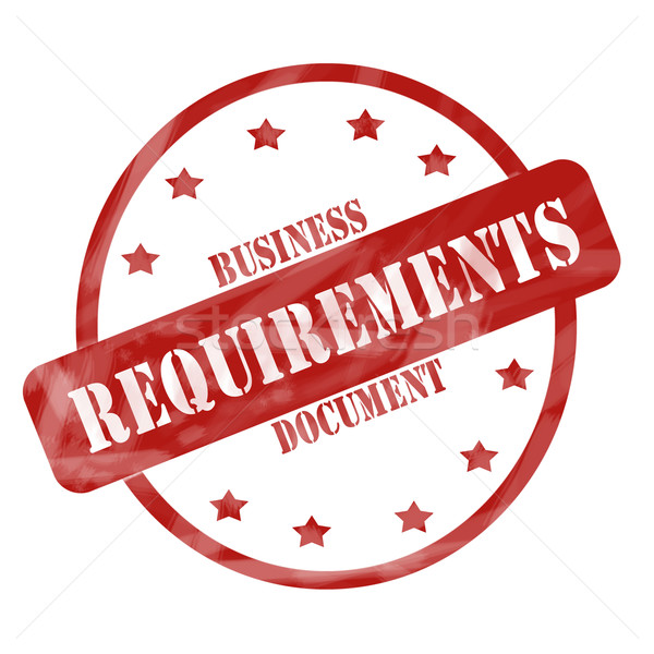 Red Weathered Business Requirements Document Stamp Circle and Stars Stock photo © mybaitshop