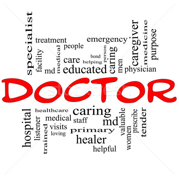 Doctor Word Cloud Concept in red and black Stock photo © mybaitshop