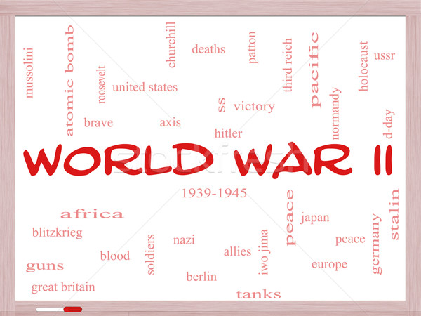 World War II Word Cloud Concept on a Whiteboard Stock photo © mybaitshop