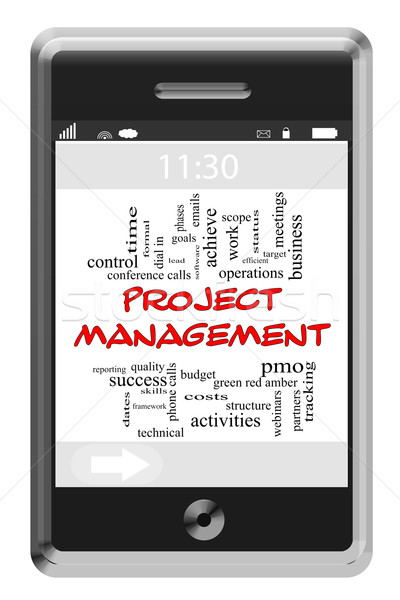 Project Management Word Cloud Concept on Touchscreen Phone Stock photo © mybaitshop