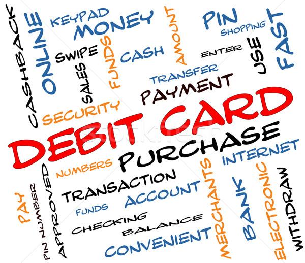 Tarjeta de débito nube de palabras colorido pago pin Foto stock © mybaitshop