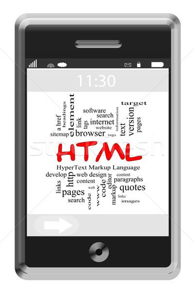 Html szófelhő érintőképernyő telefon nagyszerű szöveg Stock fotó © mybaitshop
