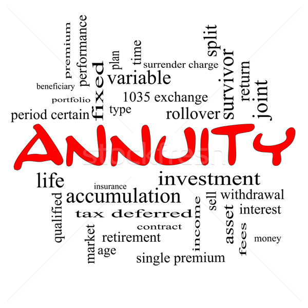 Annuity Word Cloud Concept in red caps Stock photo © mybaitshop