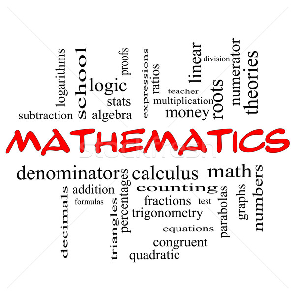 Mathematics Word Cloud Concept in red caps Stock photo © mybaitshop