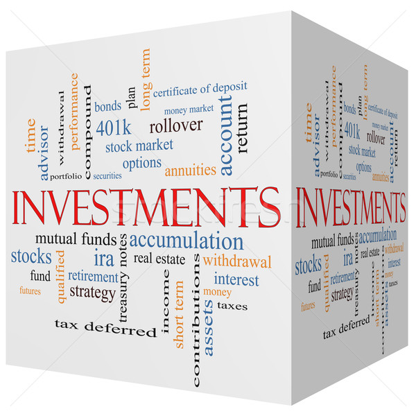 Investments 3D cube Word Cloud Concept Stock photo © mybaitshop