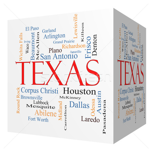 Texas State 3D cube Word Cloud Concept Stock photo © mybaitshop