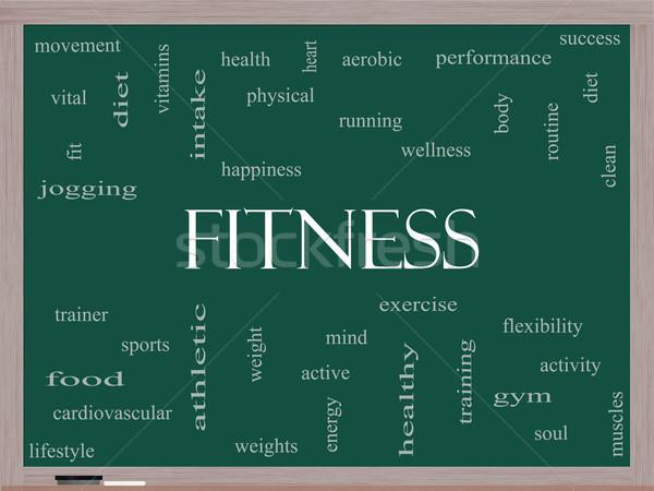 Fitness Word Cloud Concept on a Blackboard Stock photo © mybaitshop