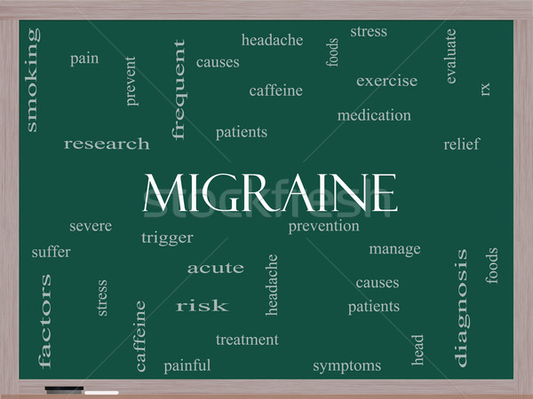 Migraine Word Cloud Concept on a Blackboard Stock photo © mybaitshop