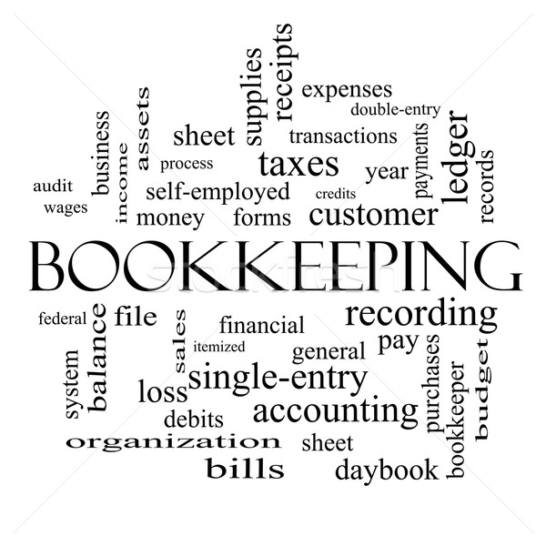 Bookkeeping Word Cloud Concept in black and white Stock photo © mybaitshop