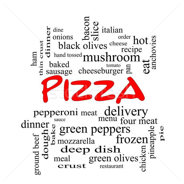 Pizza szófelhő piros nagyszerű pepperoni menü Stock fotó © mybaitshop