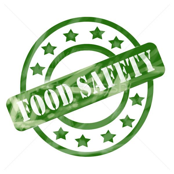 зеленый выветрившийся безопасности пищевых продуктов штампа Круги звезды Сток-фото © mybaitshop