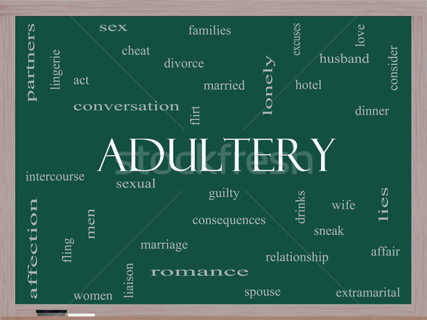 Adultery Word Cloud Concept on a Blackboard Stock photo © mybaitshop