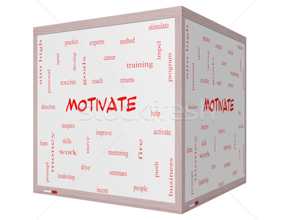 Motivate Word Cloud Concept on a 3D cube Whiteboard Stock photo © mybaitshop