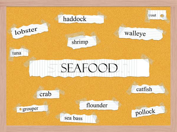Seafood Corkboard Word Concept Stock photo © mybaitshop