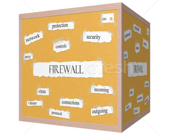 Firewall 3D cube Corkboard Word Concept Stock photo © mybaitshop