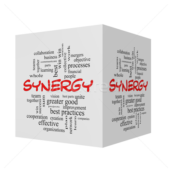 Synergy 3D Word Cloud Concept in red caps Stock photo © mybaitshop