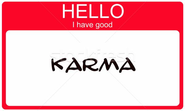 Hello jó karma piros névtábla matrica Stock fotó © mybaitshop