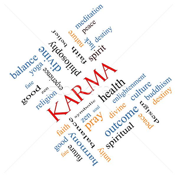 Stock fotó: Karma · szófelhő · nagyszerű · egyensúly · jóga · szellem