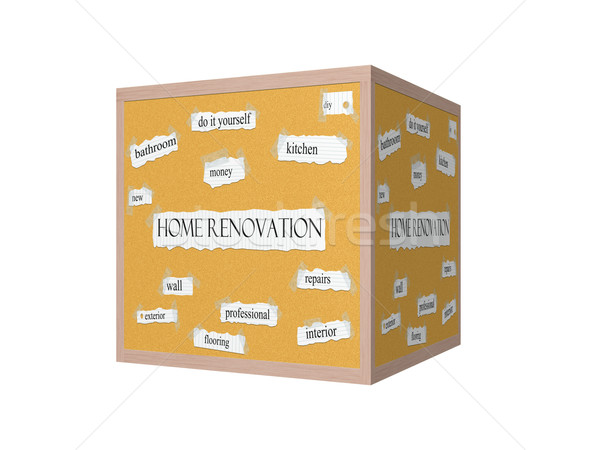 Home Renovation 3D Corkboard Word Concept Stock photo © mybaitshop