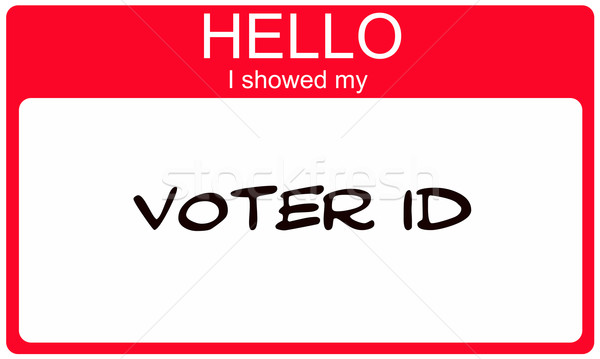Hello I showed my Voter ID red name tag Stock photo © mybaitshop