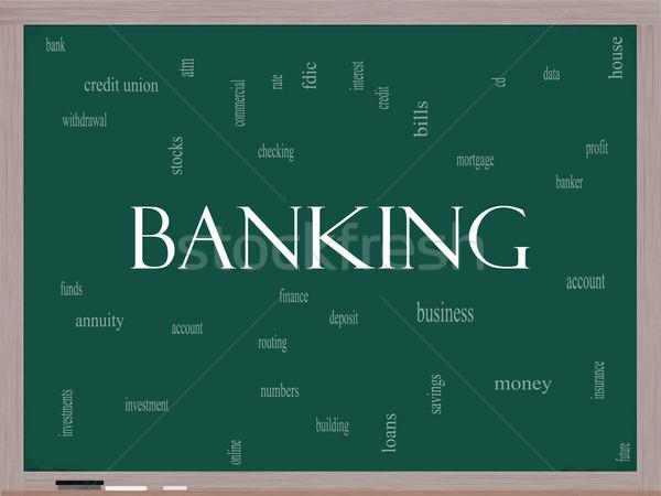 Banking Word Cloud Concept on a Blackboard Stock photo © mybaitshop