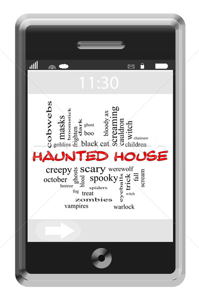 Haunted House Word Cloud Concept on Touchscreen Phone Stock photo © mybaitshop