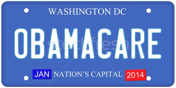 Washington DC placa imitação escrito 2014 adesivos Foto stock © mybaitshop