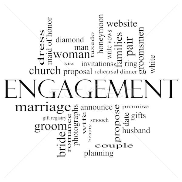 Engagement Wort-Wolke schwarz weiß groß Diamant-Ring kiss Stock foto © mybaitshop
