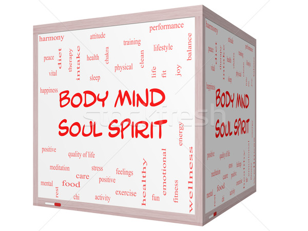 Body Mind Soul Spirit Word Cloud Concept on a 3D cube Whiteboard Stock photo © mybaitshop