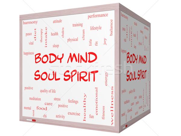 Zdjęcia stock: Ciało · umysł · dusza · duch · chmura · słowo · 3D