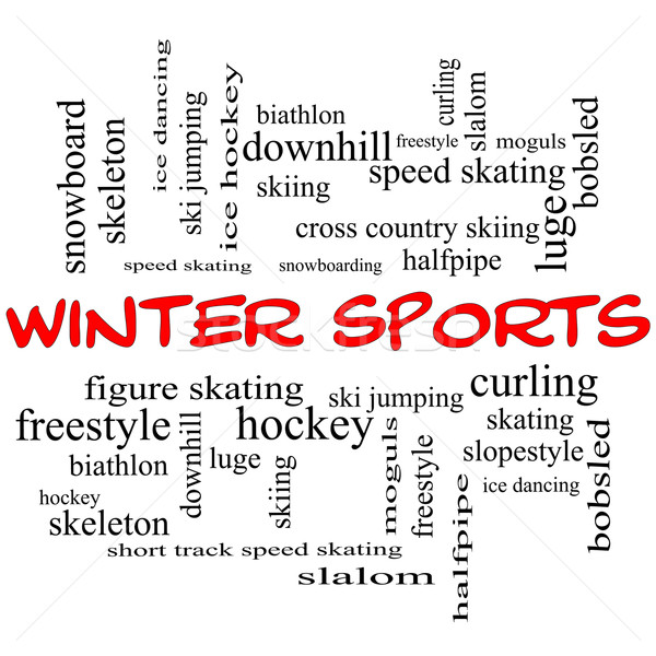 Winter Sports Word Cloud Concept in red caps Stock photo © mybaitshop