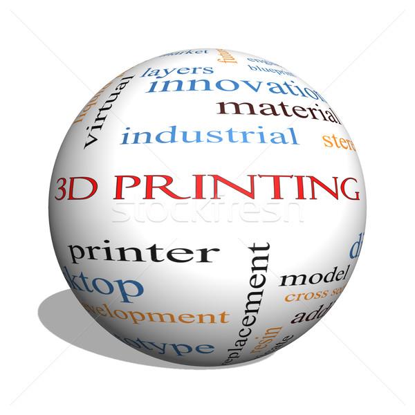 3D Printing 3D sphere Word Cloud Concept Stock photo © mybaitshop