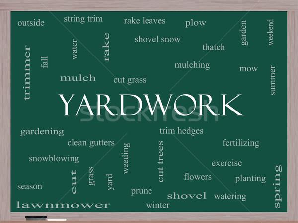 Yardwork Word Cloud Concept on a Blackboard Stock photo © mybaitshop