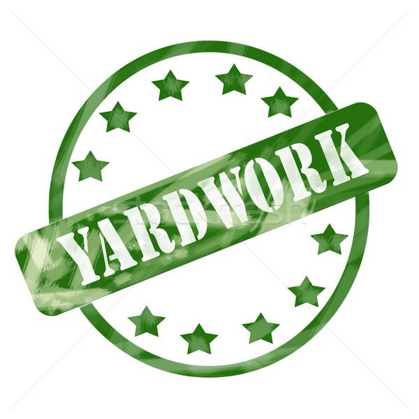 Green Weathered Yardwork Stamp Circle and Stars Stock photo © mybaitshop