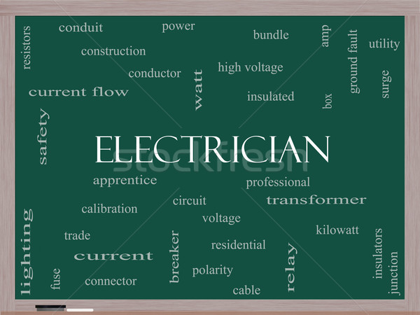 Electrician Word Cloud Concept on a Blackboard Stock photo © mybaitshop