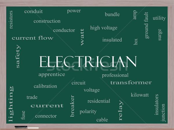 électricien nuage de mots tableau noir magnifique tension apprenti Photo stock © mybaitshop