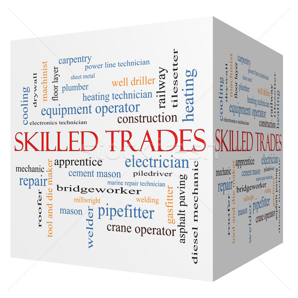 Skilled Trades 3D cube Word Cloud Concept Stock photo © mybaitshop