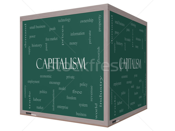 Capitalism Word Cloud Concept on a 3D cube Blackboard Stock photo © mybaitshop