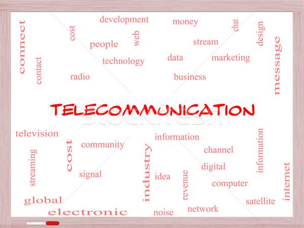 Telecommunication Word Cloud Concept on a Whiteboard Stock photo © mybaitshop